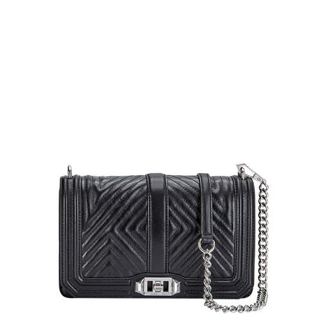 Geo Love Quilted Crossbody Bag Black