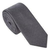 Chevron Pattern Tie Grey