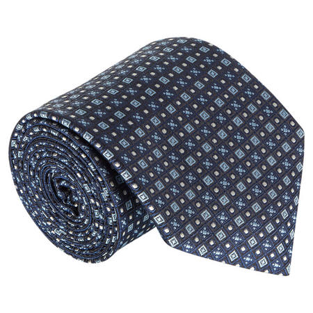 Square Dot Silk Tie Navy