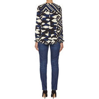 Fuxia Abstract Print Top Blue