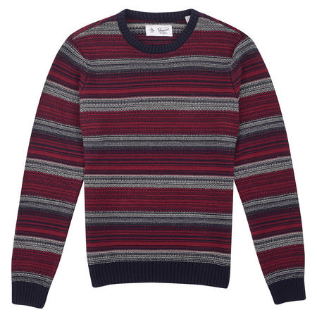 Striped Ribbed Jumper Red