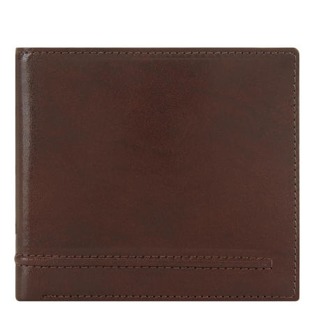 Waxed Leather Slim Billfold Wallet Brown