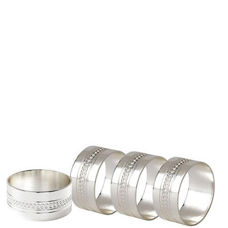 Simply Wish Napkin Rings Set Of Four Silver-Tone