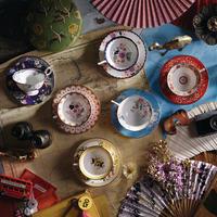 Wonderlust Teacups & Saucers Midnight Crane