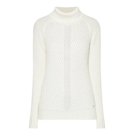 Cable Knit Polo Neck Sweater Cream