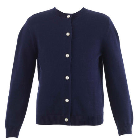 Girls Pearl Button Cardigan Blue