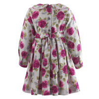 Girls Rose Print Flannel Dress Pink