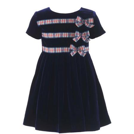 Girls Triple Tartan Bow Velvet Dress Blue