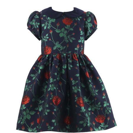 Girls Rose Print Damask Dress Blue