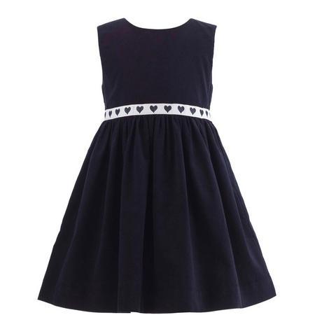 Older Girls Heart Trim Babycord Pinafore Dress Blue