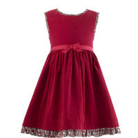 Girls Babycord Trim Pinafore Dress Red