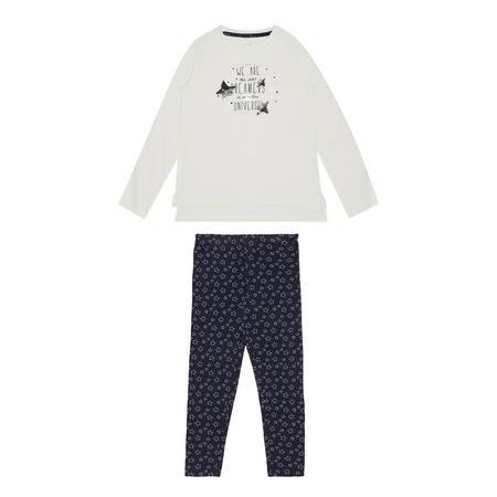 Girls Star T-Shirt & Leggings Set White