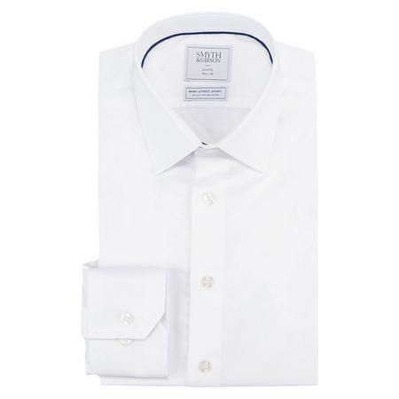 Non Iron Herringbone Contemporary Fit Shirt White