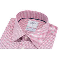 Textured Check Twill Slim Fit Shirt Red