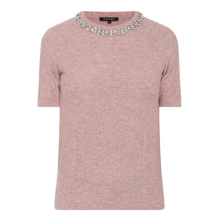 Embellished Neckline Sweater Pink