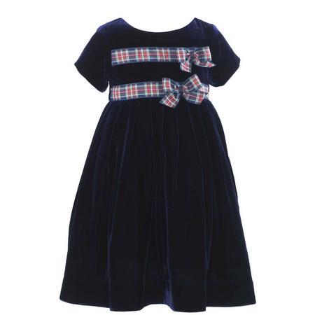 Girls Double Tartan Bow Velvet Dress Blue