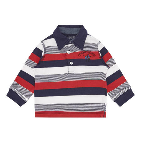 Babies Stripe Polo Shirt Red