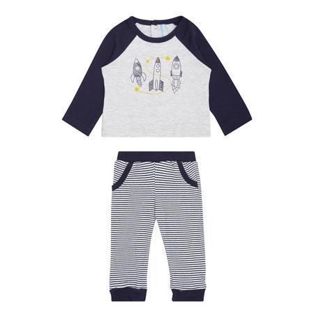 Babies Two-Piece Rocket T-Shirt & Bottoms Grey