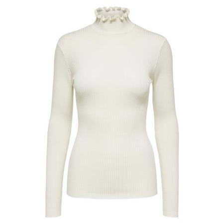 Cost Ruffle Turtleneck Sweater White