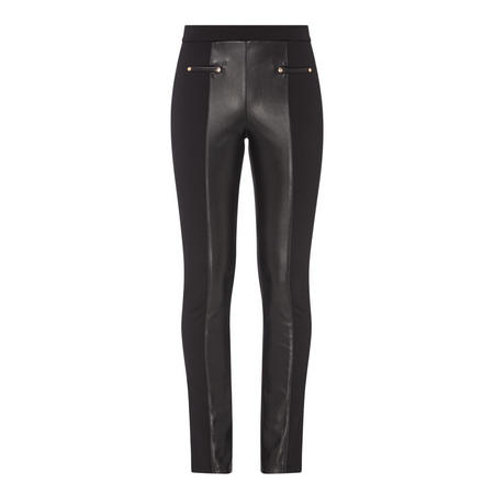 Faux Leather Panel Trousers Black