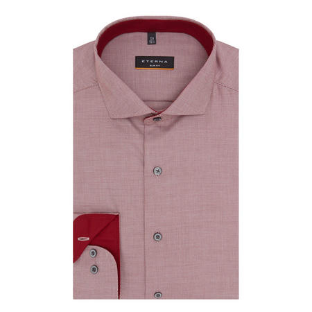 Textured Slim Fit Shirt Red