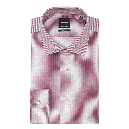 Textured Square Pattern Shirt Red