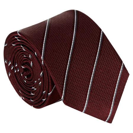 Diagonal Stripe Silk Tie Red