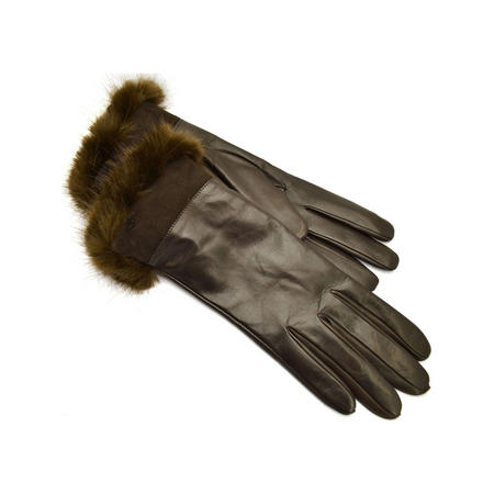 Fur Trim Long Leather Gloves Brown