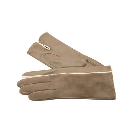 Contrast Trim Suede Leather Gloves Brown