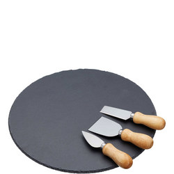 Cheese Platter And Knife Set Black