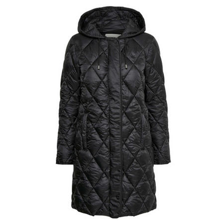 Diamond Quilt Longline Jacket Black