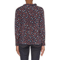 Long Sleeve Printed Blouse Red