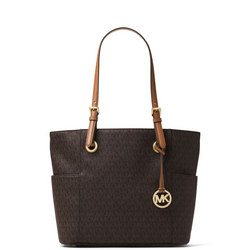 Jet Set Small Logo Tote  Brown