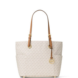 Jet Set Small Logo Tote  Cream