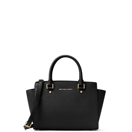 Selma Medium Satchel Bag Black