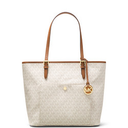 Jet Set Snap Pocket Tote Cream