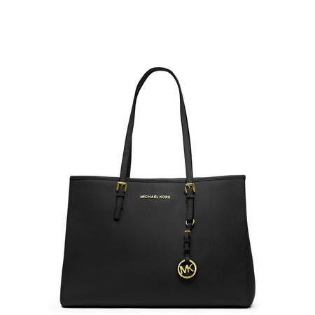 Jet Set Classic Leather Tote  Black