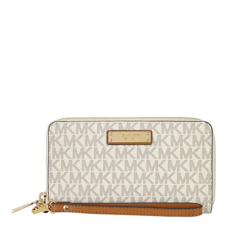 Jet Set Travel Logo Smartphone Wristlet Cream