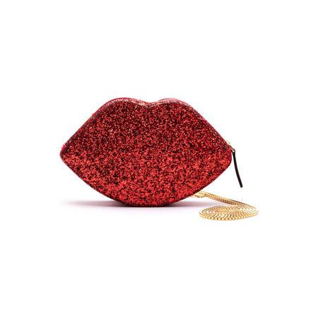Coco Glitter Lip Crossbody Bag Red