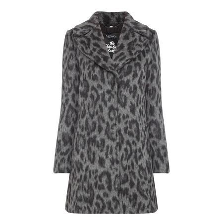 Kate Leopard Print Coat Grey
