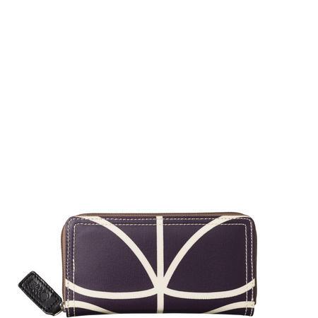 Linear Stem Print Large Zip Wallet Purple