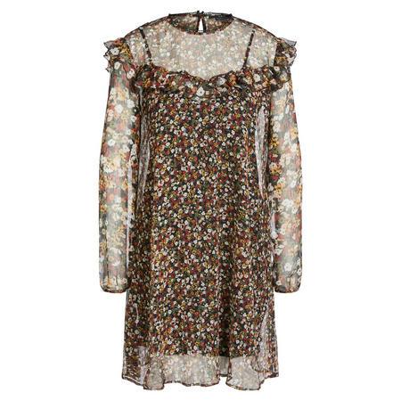 Sheer Floral Ruffle Dress Multicolour