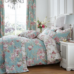Country Floral Coordinated Bedding Set Blue