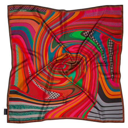 Swirl Medium Silk Scarf Red