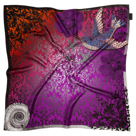 Freedom Bird Medium Silk Scarf Purple