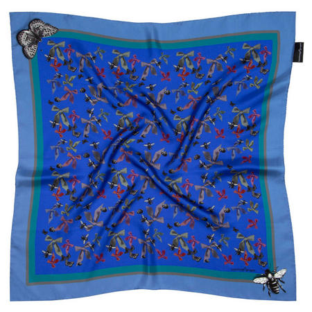 Bugs N Bows Small Silk Scarf Blue