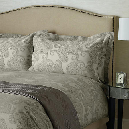 Paisley Cotton Oxford Pillowcase Grey