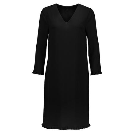 Long Sleeve Crepe Shift Dress Black