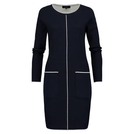 Contrast Piping Pencil Dress Navy