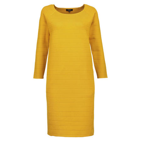 Textured Stripe Straight Dress Yellow
